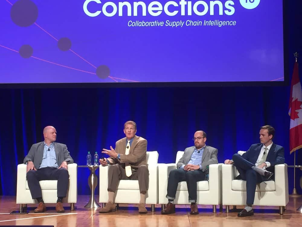 Craig Fuller, Stephen Rogers, Brian Glick, and Austin Mills discuss blockchain at Connections 2018. ( Photo: FreightWaves )